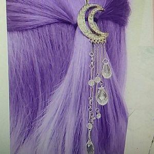 Moon tassel beads dangle hair clip